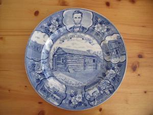 Vintage Adams blue & white Lincoln's New Salem plate.