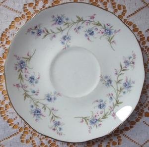 Vintage Duchess Tranquility Forget-Me-Not Bone China Saucer.