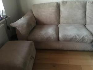 3/4 seater settee in beige soft cord material
