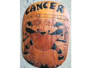 Cancer Zodiac Star Sign Carved Wooden Wall Hanging in Havant