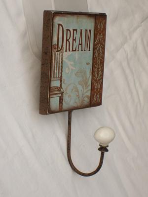 """Duck Egg & Brown """"Dream"""" Wall Hook"""