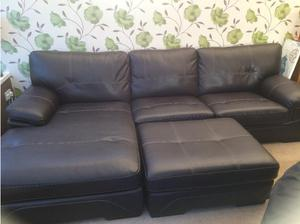 Large SCS Endurance leather corner sofa with chaise and