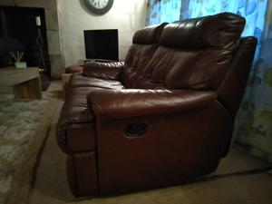 Large leather corner sofa with matching 2 seater sofa