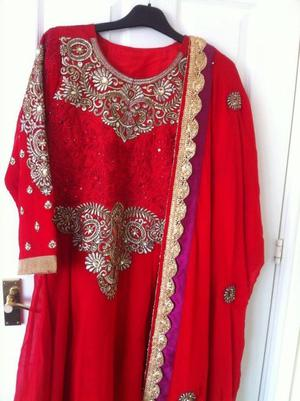 Red and gold embroidered dress suit