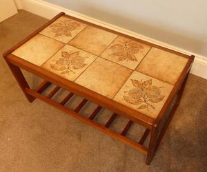 Vintage/ Retro Danish Teak Tiled Coffee Table with Shelf