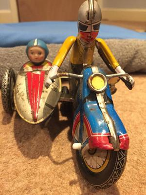 Vintage Tin Plate Motorcycle and Side Car