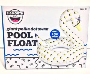 Giant SWAN Pool Float Bigmouth 4ft Wide White Polka Dot Pool