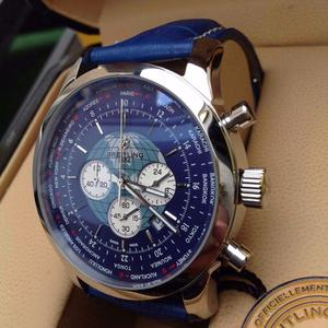 New boxed blue leather blue dial breitling transocean with world clock bagged & Boxed Set