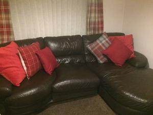 Brown Leather Sofas and Footstool