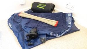 CAMPING BUNDLE: Single AIRBED with electric PUMP, Sleeping BAG, woven MAT