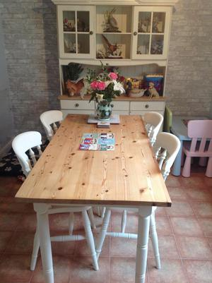 Farm house kitchen table and chairs painted chairs great con
