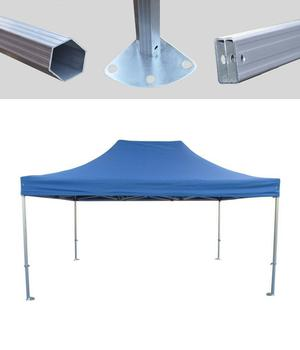 MCD Pro Tent™ Hex 50mm Blue Industrial Gazebo 3m x 4.5m