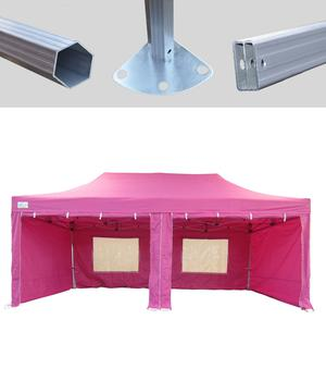 MCD Pro Tent™ Hex 50mm Pink Industrial Gazebo 3m x 6m Easy