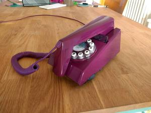 Retro style purple phone 60s, 70s