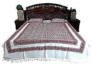 Bedding White Maroon Floral Cotton Bedspreads Boho Bohemian Dorm Decor