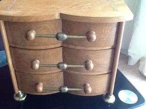 Large heavy wooden jewellery box