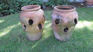 2 x Antique Terracotta Strawberry Pots