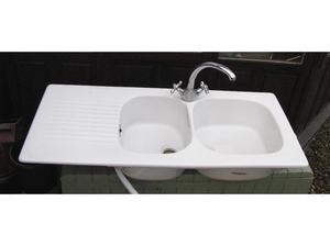 Ceramic Double Bowl kitchen sink with Chrome Mixer Taps in