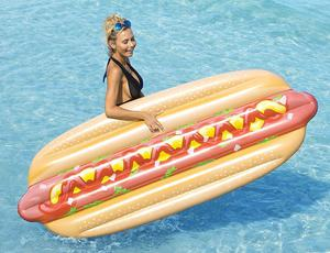 Hot Dog Swimming Pool Float Inflatable Raft Huge 7' Beach