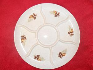 """Kernewek Pottery """"Autumn Rose"""" Large Hors d'Oeuvres"""