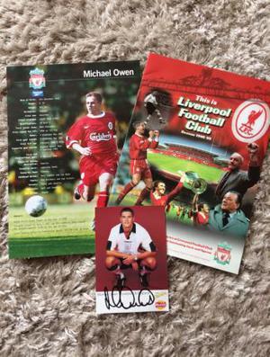 Michael Owen autograph and Liverpool brochure