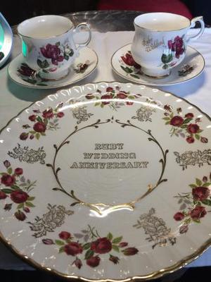 Ruby wedding vintage plate and 2 cups and saucers