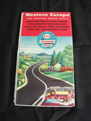 WESTERN EUROPE ESSO TOURING SERVICE VINTAGE MAP