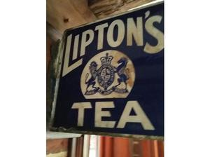 liptons enamel tea sign, double sided. approx 1.5 feet and