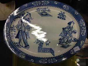 Large blue and white Chinese Japanese willow meat plate tray antique victorian