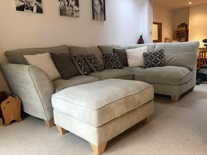 4-seater, left hand facing corner sofa + footstool