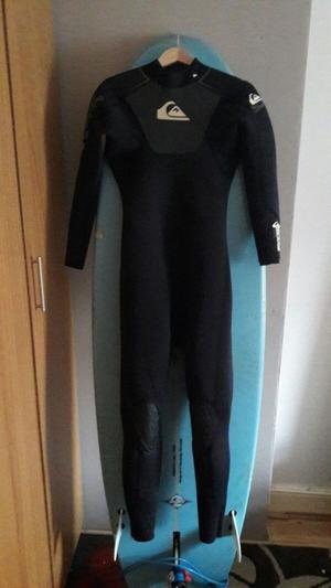"6""7 bilbo surfboard and quicksilver wetsuit"