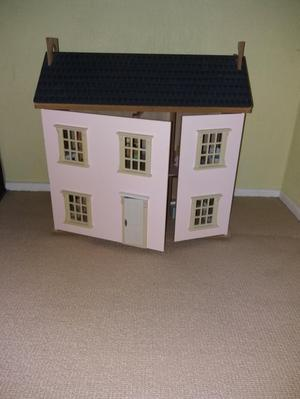 Dolls House with Sylvanian Family and furniture