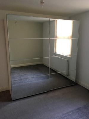 IKEA PAX Double Wardrobe with AULI Mirrored Sliding Doors 200cm x 201cm
