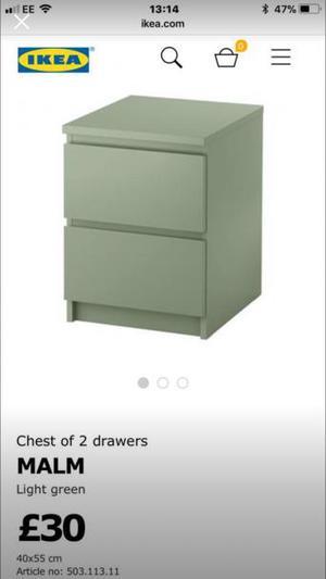 Ikea malm bedroom furniture in green