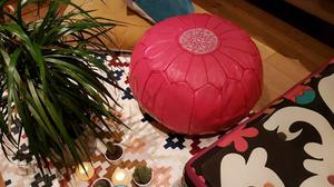 Moroccan leather pouffe 100% leather.