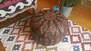 Moroccan leather pouffe 100% leather brown