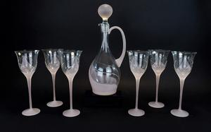 Romanian - 's Stylish Crystal Set of Six Wine Glasses with Matching Decanter ART Deco style