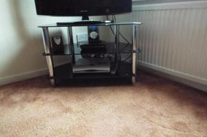 BLACK GLASS (safety Glass) TV STAND – USED EXCELLENT