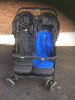 Joie double pushchair/buggy blue and pink