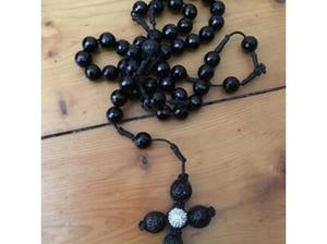 Long length beaded necklace with cross in Poole