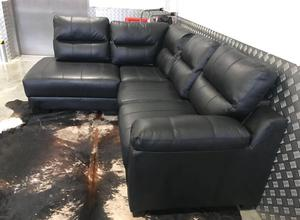 SASKIA BLACK COMPACK CORNER RIGHT HAND CHAISE SOFA SETTE SUITE COUCH - LEATHER - DELIVERY AVAILABLE‼