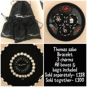 Thomas Sabo Bracelet and charms, selling separately or together.