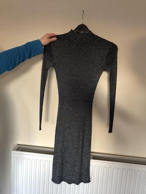 Dark blue glitter jumper dress - size 8