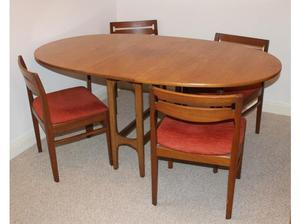 G plan Teak Dining room gateleg table and Chairs in