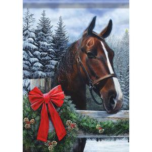 LARGE HOUSE FLAG - Holiday Horse - Garden Welcome Flag -