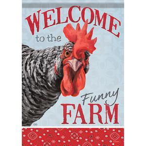 MINI FLAG - Funny Farm Chicken - Welcome Garden Flag -