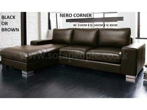 Nero leather corner sofa in black or brown with many other