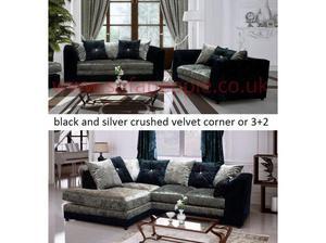crushed velvet silver black sofas, either 3+2 or corner