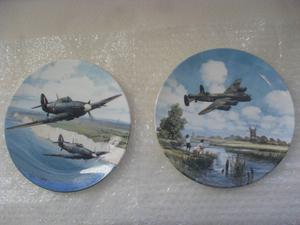 HURRICANE OVER WHITE CLIFFS OF DOVER & LANCASTER LOW OVERHEAD - ROYAL DOULTON LIMITED EDITION PLATES