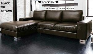 Leather Nero corner sofa in black or brown, many other sofas and beds to choose from look thru pics